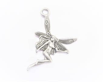 Vintage Pewter Fairy Charm Pendant