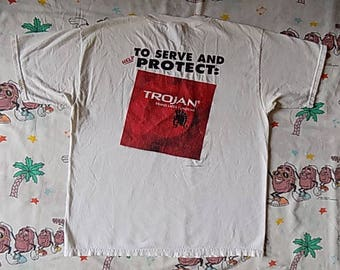 Vintage 90's Trojan Condom promo T shirt, size XL to serve and protect Offensive sex