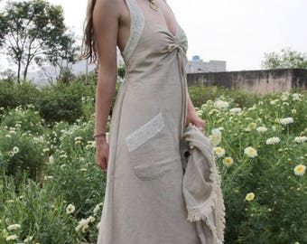 SALE Open Back, Natural textile, open back Dress, Pocket dress, Celtic dress, Natural fibre, lagan look, bohemian dress, folk dress