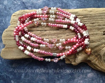 Pink Boho Beaded Wrap Bracelet or Long Necklace