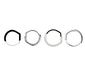 ON SALE Silver and Black Squared Statement Minimalist Ring - Step Collection
