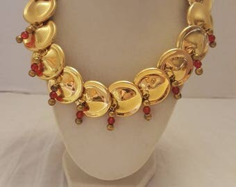 Gold Necklace Gold and Red Necklace Red and Gold Necklace Gold Plated Necklace One Of A Kind Necklace Bridesmaid Necklace Valentine's Day
