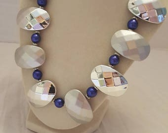 Silver and Blue Necklace Blue and Silver Necklace One Of A Kind Necklace Statement Necklace Wedding Necklace Bridesmaid Necklace Great Gift