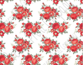 Red rose floral craft  vinyl sheet - HTV or Adhesive Vinyl -  with white background flower pattern vinyl  HTV2236