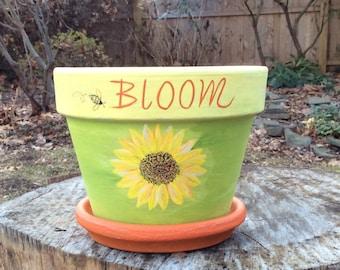 Sunflower Bloom Painted Terra cotta Flower Pot