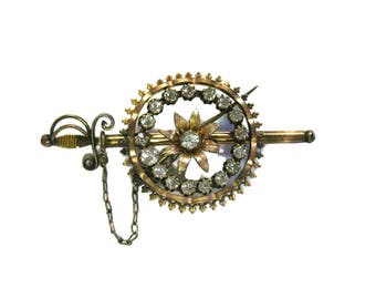 Victorian Sword and Scabbard Pin With Rhinestones - Vintage Brooch - Sword Pin - Knights Brooch - Renaissance Fair Pin