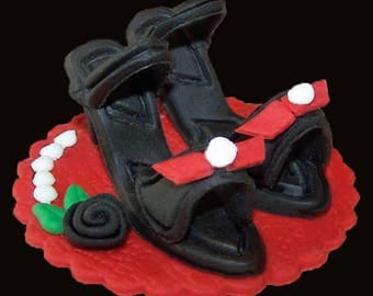 Pr. Mini Heels with Bows, Rose & Pearl Accents Topper