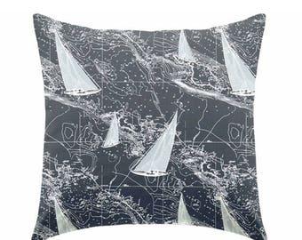 20% OFF SALE Decorative pillow, throw pillow, toss pillow, indigo pillow, coastal pillow, blue pillow, boy pillow, nautical pillow ZIPPER Cl