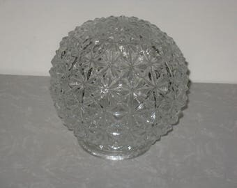 Vintage clear cut glass globe light fixture shade