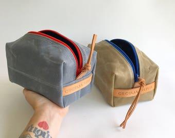 Waxed canvas Dopp kit - FREE SHIPPING