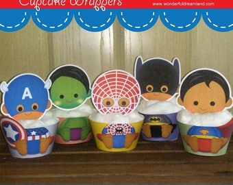 50% OFF Superhero Baby Cupcake Wrappers 1.2 - PDF Instant Download Printable Digital File
