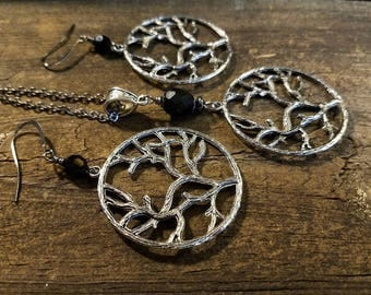 Necklace and Earrings Set, Tree of Life Necklace Set, Silver Necklace Set