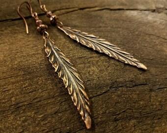 Copper Leaf Earrings, Metal Earrings, Boho Earrings