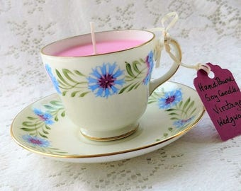 Teacup Soy Candle in Vintage China, Wedgwood English Bone China,  Summer S417, Cherry Almond Fragrance, Handmade Pink Candle