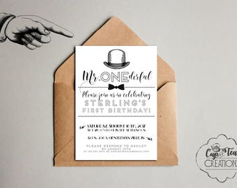Mr. Onederful Birthday Invitation, First Birthday Invitation, Mister One-derful Invitation, Mr. Wonderful Invitation