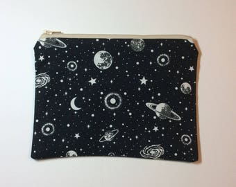 Quirky Monday Crafts Zipper Pouch, Glowing space fabric, Knitting project bag, Crochet project bag, cosmetics bag, lined zipper bag