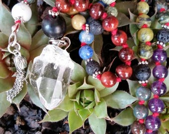 Prayer Beads/Mala Beads-Plus It's A Pendulum Too! 108 Individually Knotted Stones on Silk Thread.Stimulating Energy From Mala. WitchCrafted.