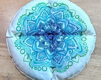 Heating Pad - Natural Cotton Printed With Blue, Teal and Green Lotus Flower - Unscented Heating Pad - Heat Therapy - Cold Therapy