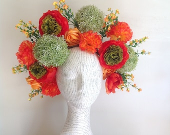Super oversized floral crown in red, orange and green.