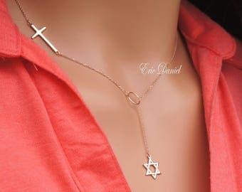 10K 14K 18K Jewish Star Cross Lariat Necklace in White Yellow or Rose Gold, Interfaith Necklace, Star of David Lariat, Sideways Cross