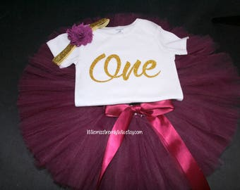 ONE Birthday Outfit, Girls Birthday Tutu, First Birthday Girl Outfit, Birthday Tutu, 1st Birthday Tutu Set, 1st Birthday Tutu, Wine Tutu Set