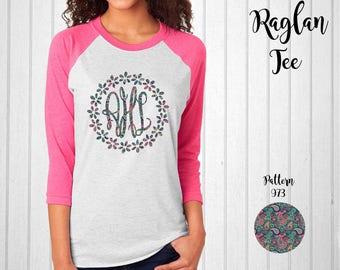 Monogram Shirt, Monogram Raglan Tee // Monogram T-Shirt with Flower Border in Pattern 973