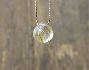Rutilated quartz necklace. rutilated golden quartz necklace. Faceted heart shaped rutilated quartz briolette.
