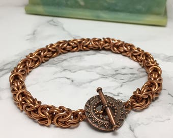 Women's Copper Bracelet -  Copper Jewelry - Byzantine Bracelet-  Copper Chain Bracelet - Chainmaille Jewelry -  Copper Chainmaille Bracelet