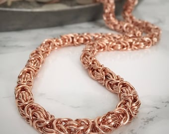 Copper Chainmaille Necklace - Copper Byzantine Chain - Copper Chain Necklace - 7th Anniversary Gift Idea - Copper Chainmaille Jewelry