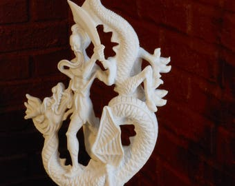 Rare Dragon Slayer Sculpture