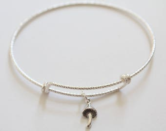 Sterling Silver Bracelet with Sterling Silver Mushroom Charm, Mushroom Bracelet, Mushroom Charm Bracelet, Mushroom Pendant Bracelet