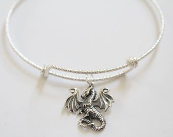 Sterling Silver Bracelet with Sterling Silver Dragon Charm, Dragon Pendant Bracelet, Dragon Bracelet, Dragon Charm Bracelet, Silver Dragon