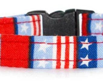 Noddy & Sweets Adjustable Cat Collar with bell and charm [Stars and Stripes]