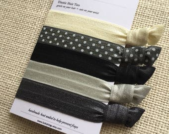 Grey elastic hair ties - handmade in the UK