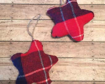 Plaid Star Christmas Ornaments, Stocking Stuffers, Rustic House Decor