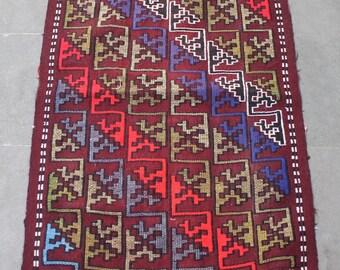 Turkish Kilim Rug 22''x37'' Hand Woven Konya Mini Cicim Kilim 57x96cm