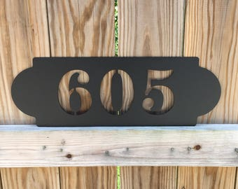 """Modern Horizontal Metal Address Sign, House Number Plaque  18"""" Wide  x 6"""" Tall     Home Address Sign"""
