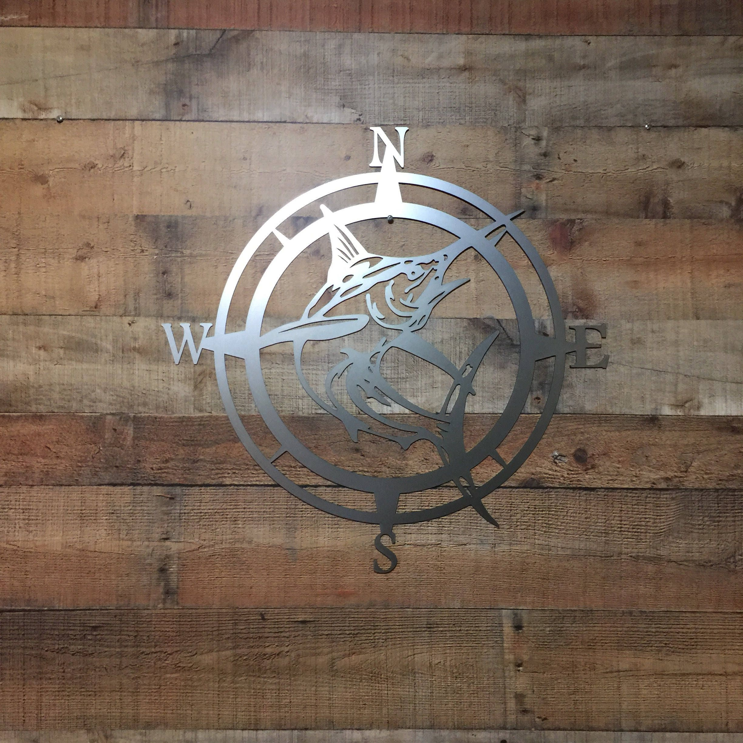 Marlin Compass Wall Decor, Marlin Compass,Wall Art, Nautical Metal Wall  Art, Nautical Rose, Outdoor Metal Art, Compass Wall Hanging, Beach