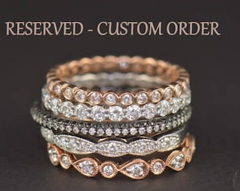Custom Order for Teri! Alaina M 8x6mm/1.52ct Oval F1 Moissanite E-Ring in 14k White Gold & TWO Lesly Diamond Bands in 14k Rose Gold, Size 6