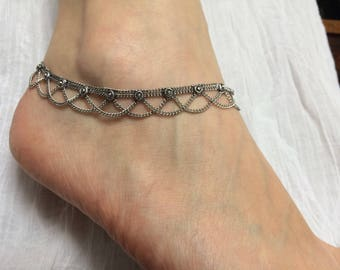 Ankle chain, silver, with two chains, small flowers 17