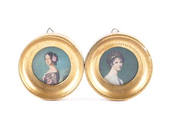 Antique fashion portraits gold frame Rococo Ladies round wall hangings