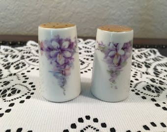 Vintage NIPPON Noritake Salt and Pepper Shakers Purple Violet Flowers White Porcelain Gold Top Hand Painted in Japan Excellent Condition!