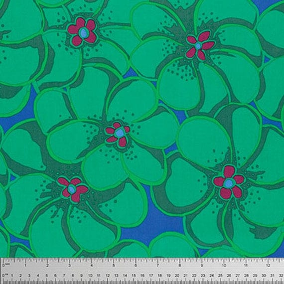 ELEPHANT FLOWER GREEN  Brandon Mably Kaffe Fassett Collective Sold in 1/2 yd increments