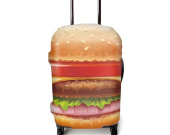 Luckiplus Burger Luggage Cover Spandex Suitcase Cover Fits 18-32 Inch Luggage