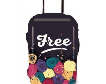 Luckiplus Flower Luggage Cover Spandex Suitcase Cover Fits 18-32 Inch Luggage