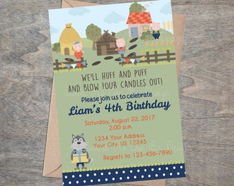 Three Little Pigs Invitation | Farm Storybook 3 Big Bad Wolf Piggy Party Printable Invite 1st 2nd 3rd 4th Birthday