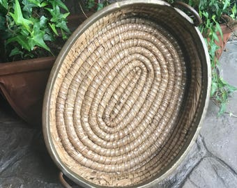 Woven Basket with Brass Rim and Handles