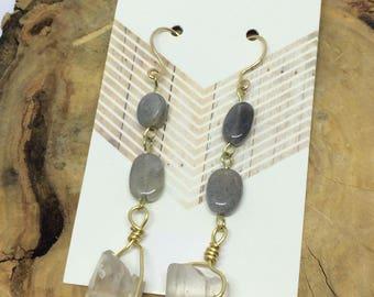 Labradorite and quartz earrings