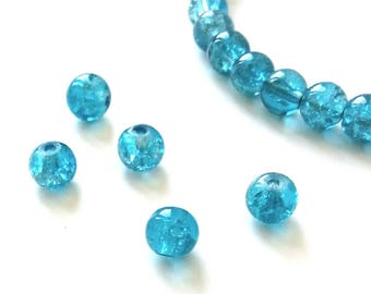 10 Blue 6mm glass crackled beads