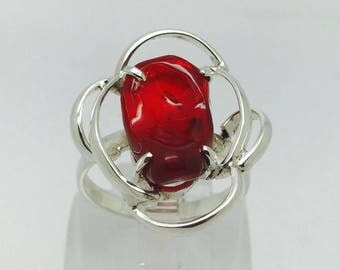 Gorgeous Red Mexican Fire Opal Ring on Sterling Silver